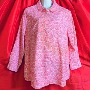 WOMAN WITHIN  L/S Linen Blend Pink & White Blouse
